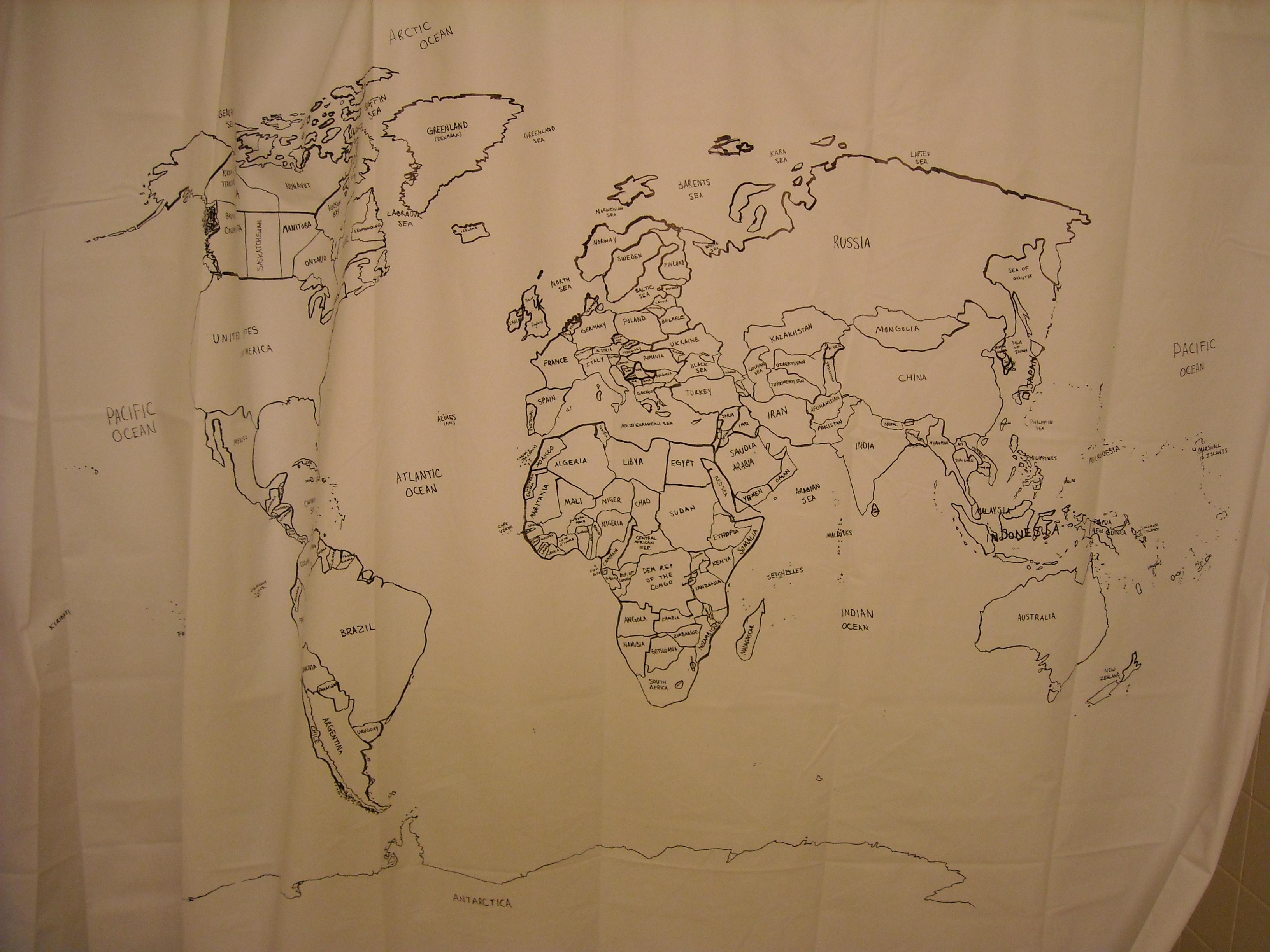 Qoana Rain Showers – Map World Shower Curtain